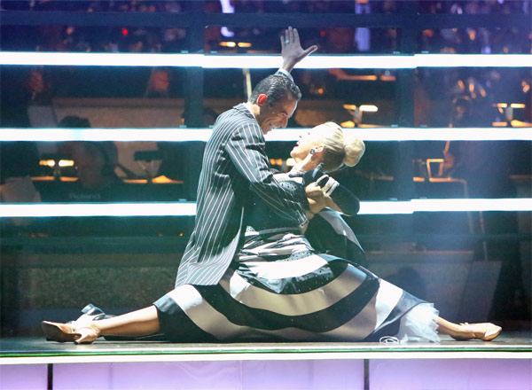 "<div class=""meta ""><span class=""caption-text "">Brazilian auto racing driver Helio Castroneves and his partner Chelsie Hightower received 25.5 out of 30 points from the judges for their Quickstep on 'Dancing With The Stars: All-Stars' on Monday, Oct. 8, 2012. (ABC / Adam Taylor)</span></div>"