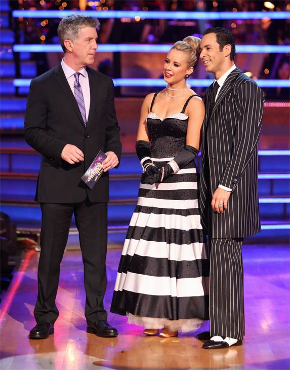 Brazilian auto racing driver Helio Castroneves and his partner Chelsie Hightower received 25.5 out of 30 points from the judges for their Quickstep on 'Dancing With The Stars: All-Stars' on Monday, Oct. 8, 2012.