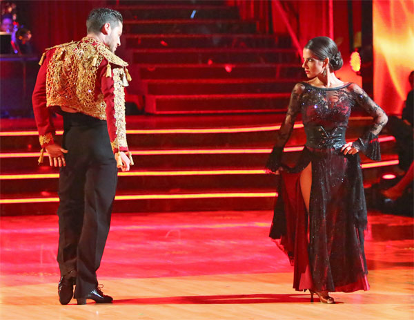 "<div class=""meta image-caption""><div class=""origin-logo origin-image ""><span></span></div><span class=""caption-text"">'General Hospital' actress Kelly Monaco and her partner Valentin Chmerkovskiy received 27 out of 30 points from the judges for their Paso Doble on 'Dancing With The Stars: All-Stars' on Monday, Oct. 8, 2012. (ABC / Adam Taylor)</span></div>"