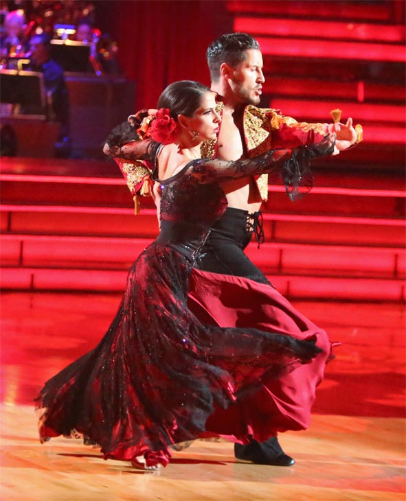 "<div class=""meta ""><span class=""caption-text "">'General Hospital' actress Kelly Monaco and her partner Valentin Chmerkovskiy received 27 out of 30 points from the judges for their Paso Doble on 'Dancing With The Stars: All-Stars' on Monday, Oct. 8, 2012. (ABC / Adam Taylor)</span></div>"