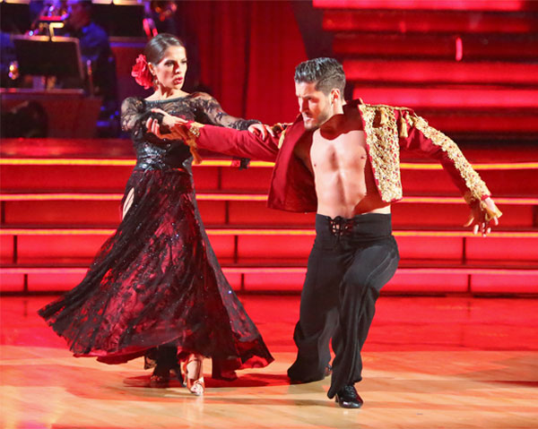 &#39;General Hospital&#39; actress Kelly Monaco and her partner Valentin Chmerkovskiy received 27 out of 30 points from the judges for their Paso Doble on &#39;Dancing With The Stars: All-Stars&#39; on Monday, Oct. 8, 2012. <span class=meta>(ABC &#47; Adam Taylor)</span>