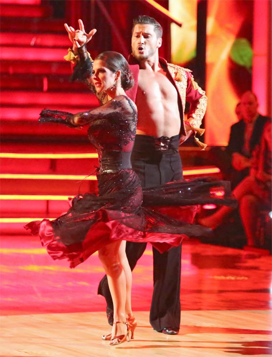 'General Hospital' actress Kelly Monaco and her partner Valentin Chmerkovskiy received 27 out of 30 points from the judges for their Paso Doble on 'Dancing With The Stars: All-Stars' on Monday, Oct. 8, 2012.