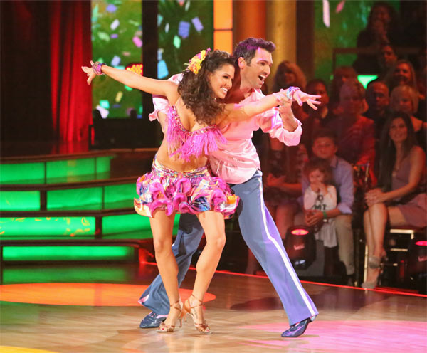 "<div class=""meta ""><span class=""caption-text "">Reality star Melissa Rycroft and her partner Tony Dovolani received 27 out of 30 points from the judges for their Samba on 'Dancing With The Stars: All-Stars' on Monday, Oct. 8, 2012. (ABC / Adam Taylor)</span></div>"