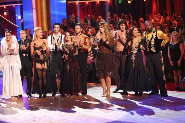 Bristol Palin, Mark Ballas, Peta Murgatroyd, Gilles Marini, Kelly Monaco, Valentin Chmerkovskiy, Kirstie Alley, Maksim Chmerkovskiy, Cheryl Burke, Emmitt Smith appear in a still from &#39;Dancing With The Stars: All-Stars&#39; &#39;Iconic Dance Night&#39; episode, which aired on October 8, 2012. <span class=meta>(ABC Photo&#47; Adam Taylor)</span>