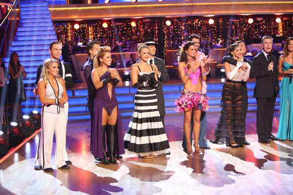 Shawn Johnson, Derek Hough, Louis Van Amstel, Sabrina Bryan, Chelsie Hightower, Helio Castroneves, Melissa Rycroft, Tony Dovolani, Karina Smirnoff, Apolo Anton Ohno, Tom Bergeron and Brooke Burke Charvet appear in a still from &#39;Dancing With The Stars: All-Stars&#39; &#39;Iconic Dance Night&#39; episode, which aired on October 8, 2012. <span class=meta>(ABC Photo&#47; Adam Taylor)</span>