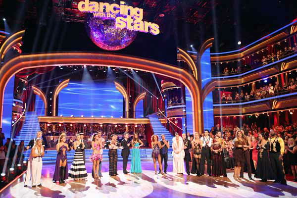 Kym Johnson, Joey Fatone, Shawn Johnson, Derek Hough, Sabrina Bryan, Louis Van Amstel, Chelsie Hightower, Helio Castroneves, Melissa Rycroft, Tony Dovolani, Karina Smirnoff, Apolo Anton Ohno, Tom Bergeron, Brooke Burke Charvet, Anna Trebunskaya, Drew Lachey, Bristol Palin, Mark Ballas, Peta Murgatroyd, Gilles Marini, Kelly Monaco, Valentin Chmerkovskiy, Kirstie Alley, Maksim Chmerkovskiy, Cheryl Burke and Emmitt Smith appear in a still from &#39;Dancing With The Stars: All-Stars&#39; &#39;Iconic Dance Night&#39; episode, which aired on October 8, 2012. <span class=meta>(ABC Photo&#47; Adam Taylor)</span>