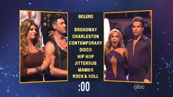 Kirstie Alley and her partner Maksim Chmerkovskiy chose a &#39;Disco&#39; dance style for Sabrina Bryan and her partner Louis Van Amstel on &#39;Dancing With The Stars: The Results Show&#39; on Tuesday, Oct. 9, 2012. <span class=meta>(ABC Photo)</span>