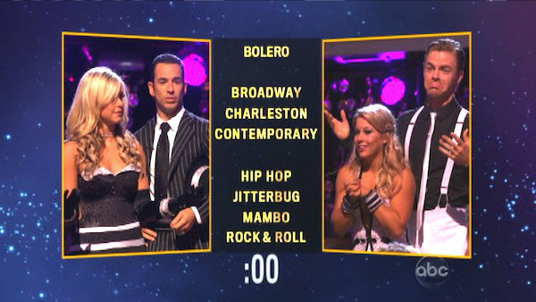 Helio Castroneves and his partner Chelsie Hightower chose a &#39;Mambo&#39; dance style for Shawn Johnson and her partner Derek Hough on &#39;Dancing With The Stars: The Results Show&#39; on Tuesday, Oct. 9, 2012. <span class=meta>(ABC Photo)</span>