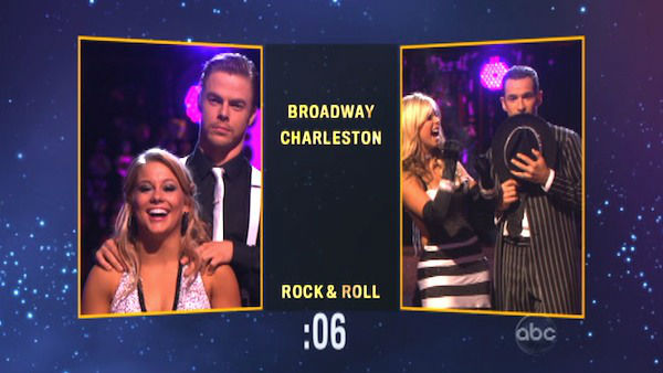 Shawn Johnson and Derek Hough appear in a still from 'Dancing With The Stars: All-Stars' on October 9, 2012.