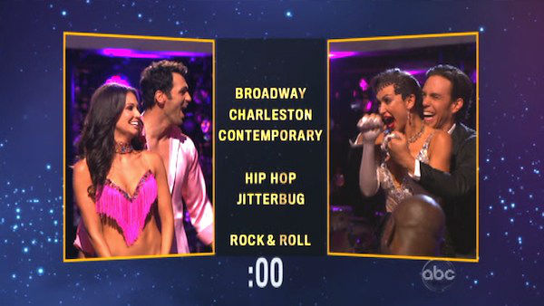 Melissa Rycroft and her partner Tony Dovolani chose a &#39;Hip Hop&#39; dance style for Apolo Anton Ohno and his partner Karina Smirnoff on &#39;Dancing With The Stars: The Results Show&#39; on Tuesday, Oct. 9, 2012. <span class=meta>(ABC Photo)</span>