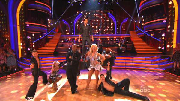 Musician Frankie Moreno performed on &#39;Dancing With The Stars: The Results Show&#39; on Tuesday, Oct. 9, 2012, with a medley of &#39;Tangerine Honey&#39; and &#39;Real Wild Child,&#39; accompanied by Troupe members Lacey Schwimmer and Kyle Massey. <span class=meta>(ABC Photo)</span>