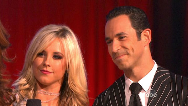 Brazilian auto racing driver Helio Castroneves and his partner Chelsie Hightower react to being eliminated on 'Dancing With The Stars: The Results Show' on Tuesday, Oct. 9, 2012.