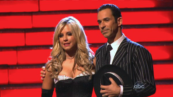 Brazilian auto racing driver Helio Castroneves and his partner Chelsie Hightower await their fate on 'Dancing With The Stars: The Results Show' on Tuesday, Oct. 9, 2012.