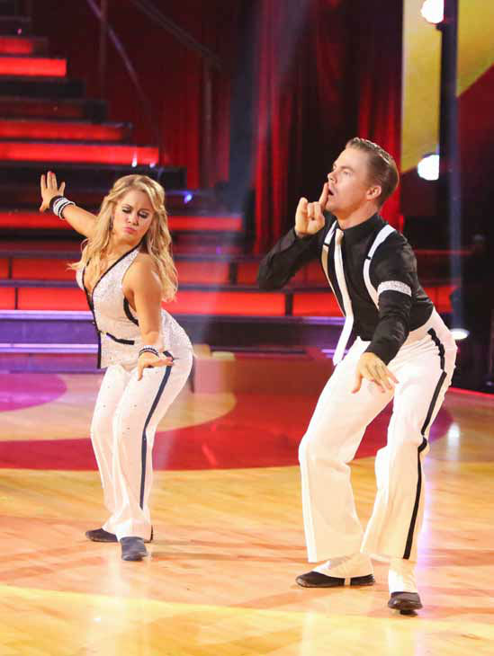 "<div class=""meta image-caption""><div class=""origin-logo origin-image ""><span></span></div><span class=""caption-text"">Olympic gymnast Shawn Johnson and her partner Derek Hough received 26.5 out of 30 points from the judges for their Quickstep on 'Dancing With The Stars: All-Stars,' which aired on October 8, 2012. (ABC Photo/ Adam Taylor)</span></div>"