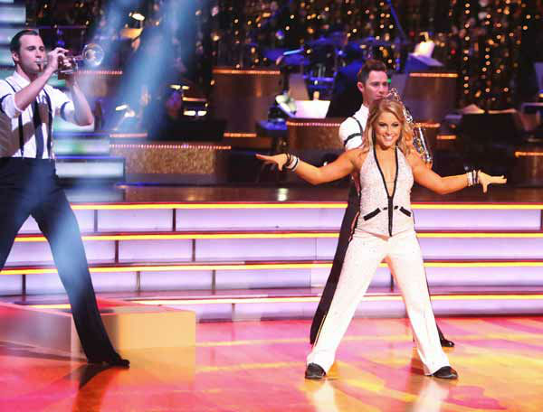 "<div class=""meta ""><span class=""caption-text "">Olympic gymnast Shawn Johnson and her partner Derek Hough received 26.5 out of 30 points from the judges for their Quickstep on 'Dancing With The Stars: All-Stars,' which aired on October 8, 2012. (ABC Photo/ Adam Taylor)</span></div>"