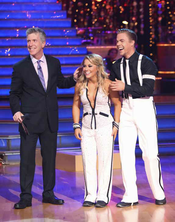 Shawn Johnson and Derek Hough appear in a still from 'Dancing With The Stars: All-Stars' on October 8, 2012.