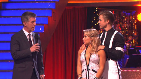 Olympic gymnast Shawn Johnson and her partner Derek Hough await their fate on 'Dancing With The Stars: The Results Show' on Tuesday, Oct. 9, 2012.