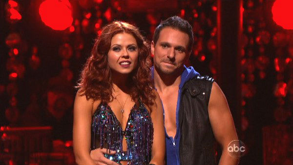 Former member of the boy band 98 Degrees, Drew Lachey and his partner Anna Trebunskaya await their fate on 'Dancing With The Stars: The Results Show' on Tuesday, Oct. 9, 2012.
