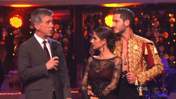 "<div class=""meta image-caption""><div class=""origin-logo origin-image ""><span></span></div><span class=""caption-text"">'General Hospital' actress Kelly Monaco and her partner Valentin Chmerkovskiy await their fate on 'Dancing With The Stars: The Results Show' on Tuesday, Oct. 9, 2012.  The pair received 27 out of 30 points from the judges for their Paso Doble on 'Dancing With The Stars: All-Stars,' which aired on October 8, 2012. (ABC Photo)</span></div>"