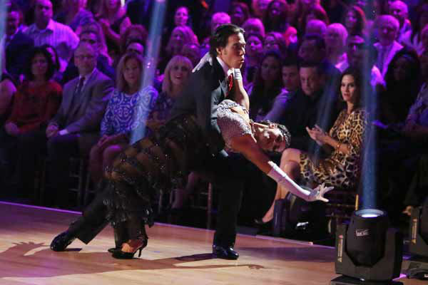 Apolo Anton Ohno and Karina Smirnoff appear in a still from 'Dancing With The Stars: All-Stars' on October 8, 2012.
