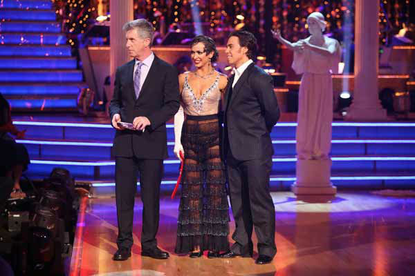 "<div class=""meta ""><span class=""caption-text "">Olympic speed skater Apolo Anton Ohno and his partner Karina Smirnoff await their fate on 'Dancing With The Stars: The Results Show' on Tuesday, Oct. 9, 2012.  The pair received 25.5 out of 30 points from the judges for their Foxtrot on 'Dancing With The Stars: All-Stars,' which aired on October 8, 2012. (ABC Photo)</span></div>"