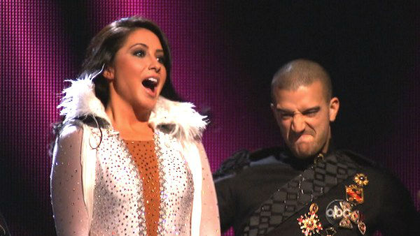 Reality star Bristol Palin and her partner Mark Ballas react to being safe from elimination on 'Dancing With The Stars: The Results Show' on Tuesday, Oct. 9, 2012.
