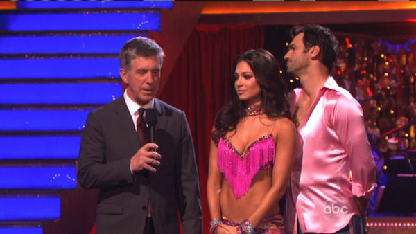 Reality star Melissa Rycroft and her partner Tony Dovolani await their fate on &#39;Dancing With The Stars: The Results Show&#39; on Tuesday, Oct. 9, 2012.  The pair received 27 out of 30 points from the judges for their Samba on &#39;Dancing With The Stars: All-Stars,&#39; which aired on October 8, 2012. <span class=meta>(ABC Photo)</span>