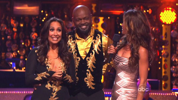 Retired NFL star Emmitt Smith and his partner Cheryl Burke await their fate on &#39;Dancing With The Stars: The Results Show&#39; on Tuesday, Oct. 9, 2012.  The pair received 25 out of 30 points from the judges for their Paso Doble on &#39;Dancing With The Stars: All-Stars,&#39; which aired on October 8, 2012.  <span class=meta>(ABC Photo)</span>