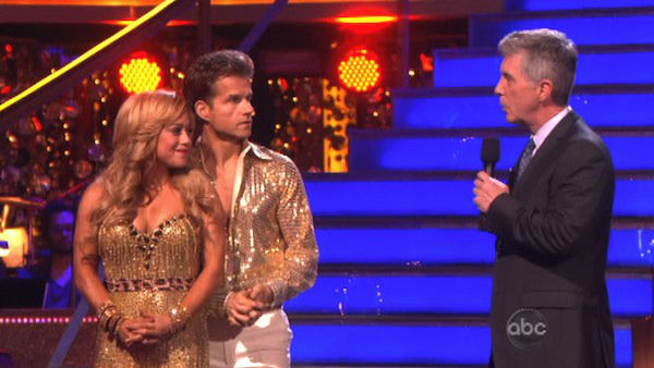 Disney Channel actress Sabrina Bryan and her partner Louis Van Amstel await their fate on 'Dancing With The Stars: The Results Show' on October 16, 2012.