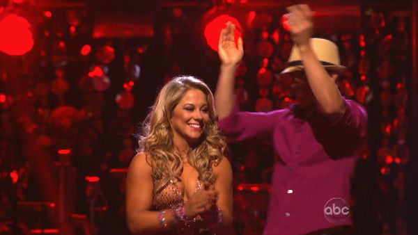 "<div class=""meta ""><span class=""caption-text "">Olympic gymnast Shawn Johnson and her partner Derek Hough react to being safe from elimination on 'Dancing With The Stars: The Results Show' on October 16, 2012. The pair received 39.5 out of 40 points from the judges for their Mambo on 'Dancing With The Stars: All-Stars,' which aired on October 15, 2012. (ABC Photo)</span></div>"