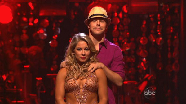 Olympic gymnast Shawn Johnson and her partner Derek Hough await their fate on &#39;Dancing With The Stars: The Results Show&#39; on October 16, 2012. The pair received 39.5 out of 40 points from the judges for their Mambo on &#39;Dancing With The Stars: All-Stars,&#39; which aired on October 15, 2012. <span class=meta>(ABC Photo)</span>