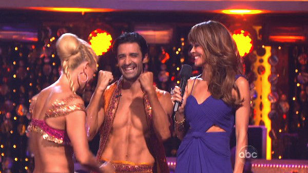 French actor Gilles Marini and his partner Peta Murgatroyd await their fate on 'Dancing With The Stars: The Results Show' on October 16, 2012.