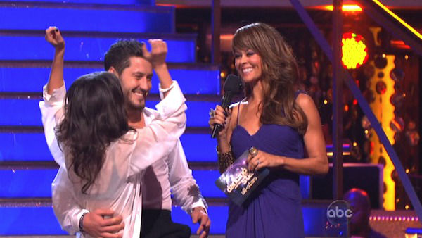 &#39;General Hospital&#39; actress Kelly Monaco and her partner Valentin Chmerkovskiy react to being safe from elimination on &#39;Dancing With The Stars: The Results Show&#39; on October 16, 2012. The pair received 37.5 out of 40 points from the judges for their Contemporary on &#39;Dancing With The Stars: All-Stars,&#39; which aired on October 15, 2012. <span class=meta>(ABC Photo)</span>