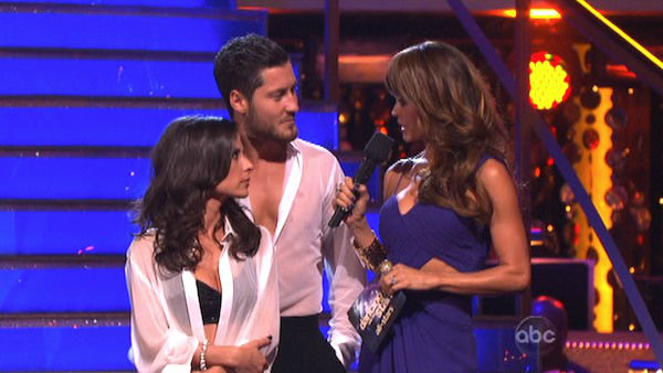 'General Hospital' actress Kelly Monaco and her partner Valentin Chmerkovskiy await their fate on 'Dancing With The Stars: The Results Show' on October 16, 2012.