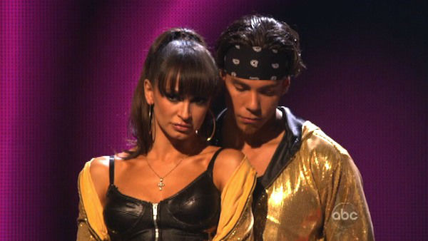 Olympic speed skater Apolo Anton Ohno and his partner Karina Smirnoff await their fate on &#39;Dancing With The Stars: The Results Show&#39; on October 16, 2012. The pair received 34.5 out of 40 points from the judges for their Hip-Hop on &#39;Dancing With The Stars: All-Stars,&#39; which aired on October 15, 2012. <span class=meta>(ABC Photo)</span>