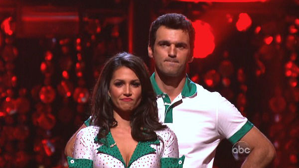Reality star Melissa Rycroft and her partner Tony Dovolani await their fate on 'Dancing With The Stars: The Results Show' on October 16, 2012.