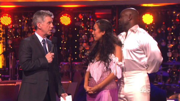 "<div class=""meta ""><span class=""caption-text "">Retired NFL star Emmitt Smith and his partner Cheryl Burke await their fate on 'Dancing With The Stars: The Results Show' on October 16, 2012. The pair received 36 out of 40 points from the judges for their Bolero on 'Dancing With The Stars: All-Stars,' which aired on October 15, 2012.  (ABC Photo)</span></div>"