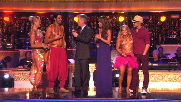 Gilles Marini, Peta Murgatroyd, Shawn Johnson and Derek Hough get ready to pick team members for next week's episode on 'Dancing With The Stars: The Results Show' on October 16, 2012.