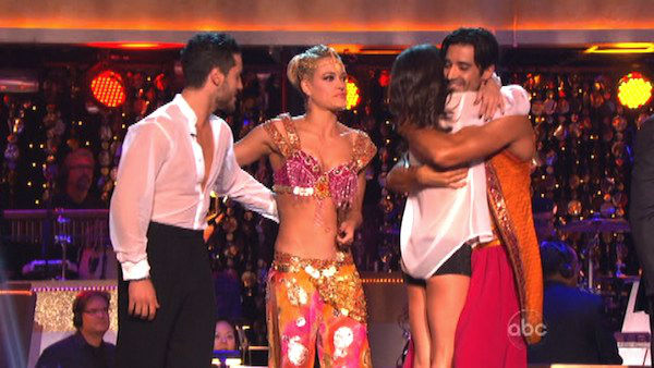 Gilles Marini and Peta Murgatroyd pick Kelly Monaco and Valentin Chmerkovskiy to be on their team for next week's team dance against Shawn Johnson and Derek Hough on 'Dancing With The Stars: The Results Show' on October 16, 2012.