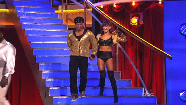 "<div class=""meta image-caption""><div class=""origin-logo origin-image ""><span></span></div><span class=""caption-text"">Shawn Johnson and Derek Hough pick Apolo Anton Ohno and Karina to be on their team for next week's team dance against Gilles Marini and Peta Murgatroyd on 'Dancing With The Stars: The Results Show' on October 16, 2012. (ABC Photo)</span></div>"