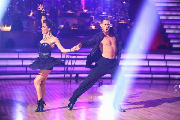 Kelly Monaco and Valentin Chmerkovskiy appear in a still from 'Dancing With The Stars: All-Stars' on October 22, 2012.