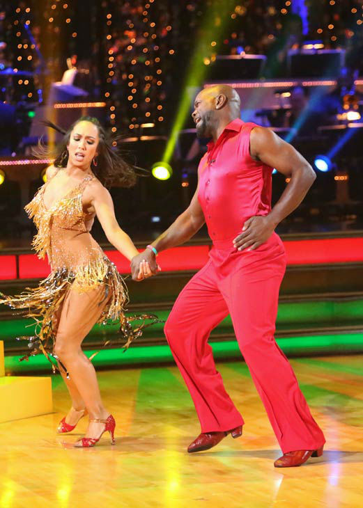 "<div class=""meta ""><span class=""caption-text "">Retired NFL star Emmitt Smith and his partner Cheryl Burke received 29 out of 30 points from the judges for their Samba on 'Dancing With The Stars: All-Stars,' which aired on October 22, 2012. (ABC Photo/ Adam Taylor)</span></div>"