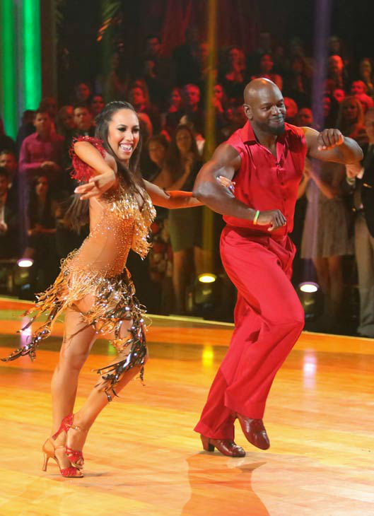 "<div class=""meta image-caption""><div class=""origin-logo origin-image ""><span></span></div><span class=""caption-text"">Retired NFL star Emmitt Smith and his partner Cheryl Burke received 29 out of 30 points from the judges for their Samba on 'Dancing With The Stars: All-Stars,' which aired on October 22, 2012. (ABC Photo/ Adam Taylor)</span></div>"