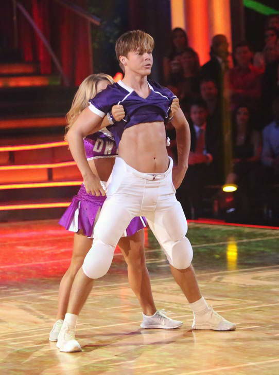 Olympic gymnast Shawn Johnson and her partner Derek Hough appears in a photo from their group Freestyle group dance on October 22, 2012.