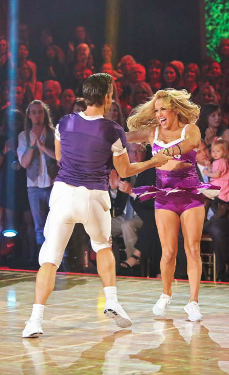 Disney Channel actress Sabrina Bryan and her partner Louis Van Amstel appears in a photo from their group Freestyle group dance on October 22, 2012.  <span class=meta>(ABC Photo&#47; Adam Taylor)</span>