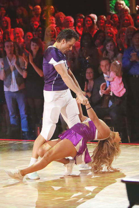 Disney Channel actress Sabrina Bryan and her partner Louis Van Amstel appears in a photo from their group Freestyle group dance on October 22, 2012.