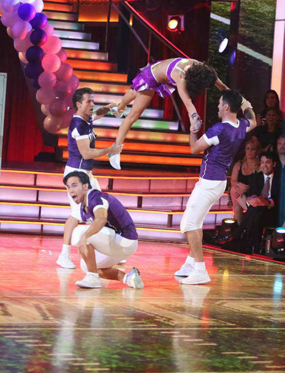 "<div class=""meta ""><span class=""caption-text "">Olympic speed skater Apolo Anton Ohno and his partner Karina Smirnoff appears in a photo from their group Freestyle group dance on October 22, 2012. (ABC Photo/ Adam Taylor)</span></div>"