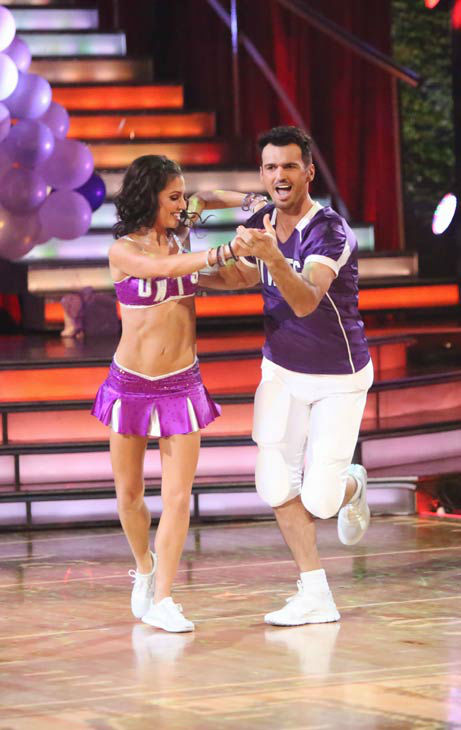 Reality star Melissa Rycroft and her partner Tony Dovolani appears in a photo from their group Freestyle group dance on October 22, 2012.