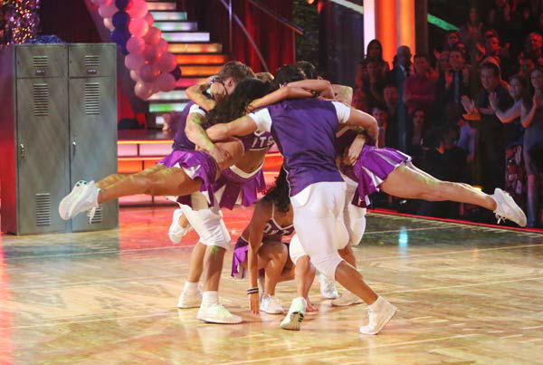 Apolo Ohno, Melissa Rycroft, Sabrina Bryan and Shawn Johnson appear in a photo from their group Freestyle group dance on October 22, 2012.