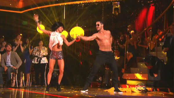 Kelly Monaco and Valentin Chmerkovskiy appear in a photo from their group Freestyle group dance on October 23, 2012.